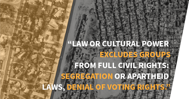 "Image with quote ""Law or cultural power excludes groups from full civil rights: segregation or apartheid laws, denial of voting rights."""