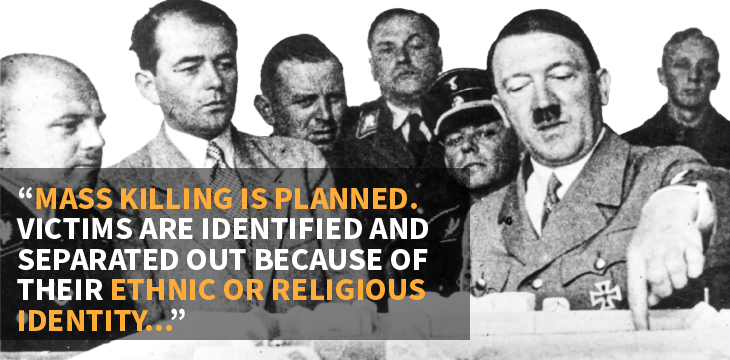 """Image with quote """"Mass killing is planned. Victims are identified and separated out because of their ethic or religious identity…"""""""