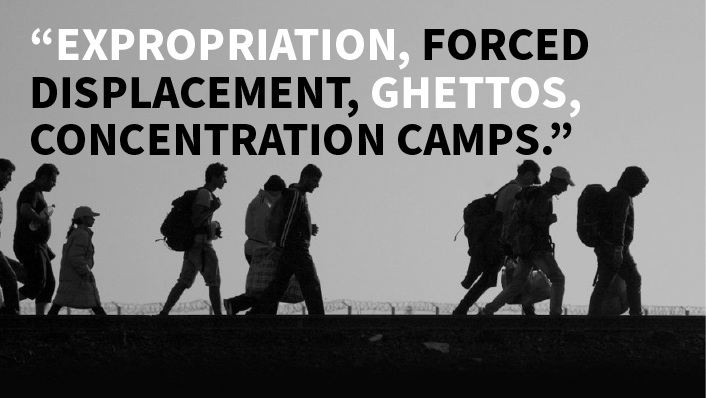 "Image with quote ""Exportation, forced displacement, ghettos, concentration camps."""