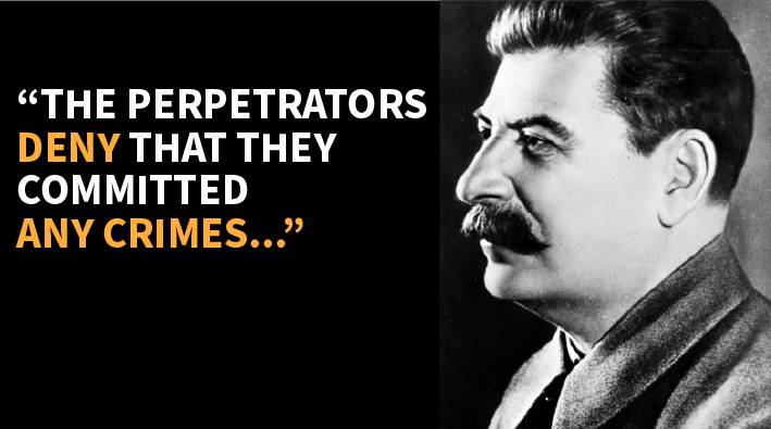 "Image with quote ""The perpetrators deny that they have committed any crimes…"""