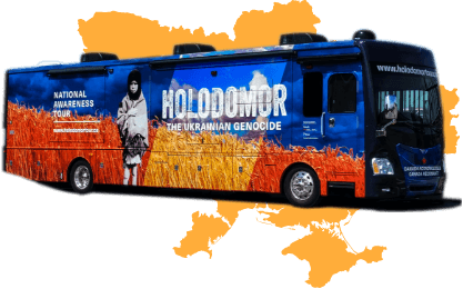 Holodomor Mobile Classroom over map of Ukraine