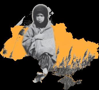 Starving girl over map of Ukraine