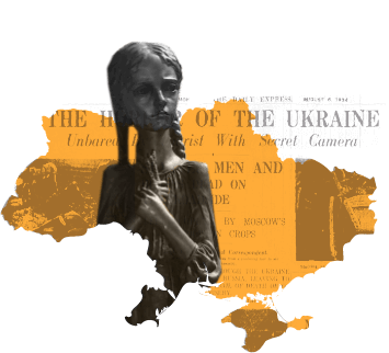 Holodomor Victims Memorial Statue over map of Ukraine