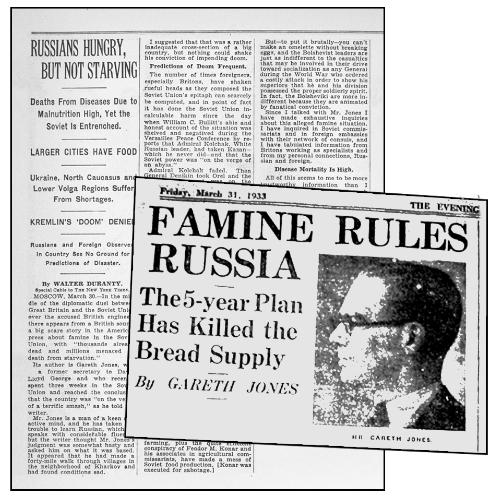 Photo of newspaper clipping that reads, Famine Rules Russia: The 5-year Plan has Killed the Bread Supply. By Gareth Jones. Friday, March 31, 1933