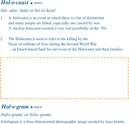 Image of dictionary page with emtpy space for pending Holodomor definition.